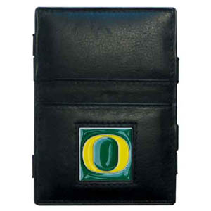 Oregon Leather Jacob's Ladder Wallet - This innovative jacob's ladder wallet design traps cash with just a simple flip of the wallet! There are also outer pockets to store your ID and credit cards. The wallet is made of fine quality leather with an enameled school emblem. Thank you for shopping with CrazedOutSports.com