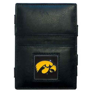 Iowa Hawkeyes Leather Jacob's Ladder Wallet - This innovative Iowa Hawkeyes jacob's ladder wallet design traps cash with just a simple flip of the wallet! There are also outer pockets to store your ID and credit cards. The Iowa Hawkeyes Leather Jacob's Ladder Wallet is made of fine quality leather with an enameled school emblem. Thank you for shopping with CrazedOutSports.com