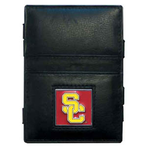 USC Leather Jacob's Ladder Wallet - This innovative jacob's ladder wallet design traps cash with just a simple flip of the wallet! There are also outer pockets to store your ID and credit cards. The wallet is made of fine quality leather with an enameled school emblem. Thank you for shopping with CrazedOutSports.com