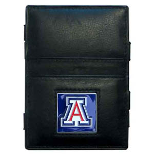 Arizona Leather Jacob's Ladder Wallet - This innovative jacob's ladder wallet design traps cash with just a simple flip of the wallet! There are also outer pockets to store your ID and credit cards. The wallet is made of fine quality leather with an enameled school emblem. Thank you for shopping with CrazedOutSports.com