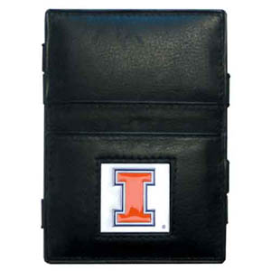 Illinois Fighting Illini Leather Jacob's Ladder Wallet - This Illinois Fighting Illini jacob's ladder wallet design traps cash with just a simple flip of the wallet! There are also outer pockets to store your ID and credit cards. The wallet is made of fine quality leather with an enameled school emblem. Thank you for shopping with CrazedOutSports.com
