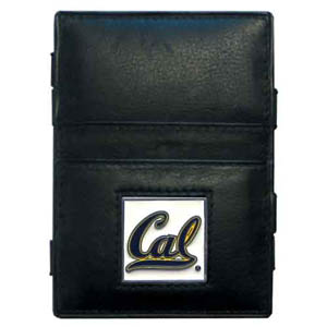 Cal Berkeley Bears Leather Jacob's Ladder Wallet - This innovative jacob's ladder wallet design traps cash with just a simple flip of the wallet! There are also outer pockets to store your ID and credit cards. The wallet is made of fine quality leather with an enameled Cal Berkeley Bears emblem. Thank you for shopping with CrazedOutSports.com