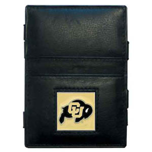 Colorado Golden Buffaloes Leather Jacob's Ladder Wallet - This innovative jacob's ladder wallet design traps cash with just a simple flip of the wallet! There are also outer pockets to store your ID and credit cards. The wallet is made of fine quality leather with an enameled Colorado Buffaloes emblem. Thank you for shopping with CrazedOutSports.com