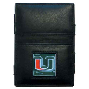 Miami Hurricanes Leather Jacob's Ladder Wallet - This innovative jacob's ladder wallet design traps cash with just a simple flip of the wallet! The Miami Hurricanes Leather Jacob's Ladder Wallet also has outer pockets to store your ID and credit cards. The Miami Hurricanes Leather Jacob's Ladder Wallet is made of fine quality leather with an enameled school emblem. Thank you for shopping with CrazedOutSports.com
