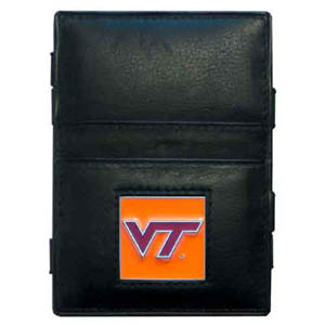 Virginia Tech Leather Jacob's Ladder Wallet - This innovative jacob's ladder wallet design traps cash with just a simple flip of the wallet! There are also outer pockets to store your ID and credit cards. The wallet is made of fine quality leather with an enameled school emblem. Thank you for shopping with CrazedOutSports.com