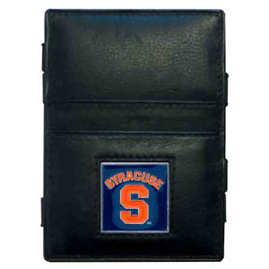 Syracuse Leather Jacob's Ladder Wallet - This innovative jacob's ladder wallet design traps cash with just a simple flip of the wallet! There are also outer pockets to store your ID and credit cards. The wallet is made of fine quality leather with an enameled school emblem. Thank you for shopping with CrazedOutSports.com