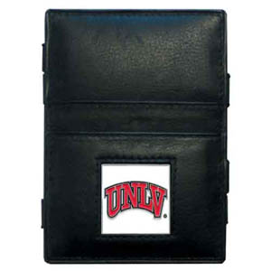 UNLV Leather Jacob's Ladder Wallet - This innovative jacob's ladder wallet design traps cash with just a simple flip of the wallet! There are also outer pockets to store your ID and credit cards. The wallet is made of fine quality leather with an enameled school emblem. Thank you for shopping with CrazedOutSports.com