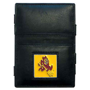 Arizona St. Sun Devils Leather Jacob's Ladder Wallet - This innovative jacob's ladder wallet design traps cash with just a simple flip of the wallet! There are also outer pockets to store your ID and credit cards. The wallet is made of fine quality leather with an enameled Arizona St. Sun Devils school emblem. Thank you for shopping with CrazedOutSports.com