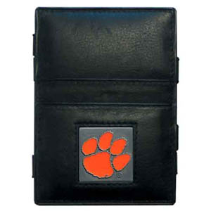 Clemson Tigers Leather Jacob's Ladder Wallet - This innovative jacob's ladder wallet design traps cash with just a simple flip of the wallet! There are also outer pockets to store your ID and credit cards. The wallet is made of fine quality leather with an enameled school emblem. Thank you for shopping with CrazedOutSports.com
