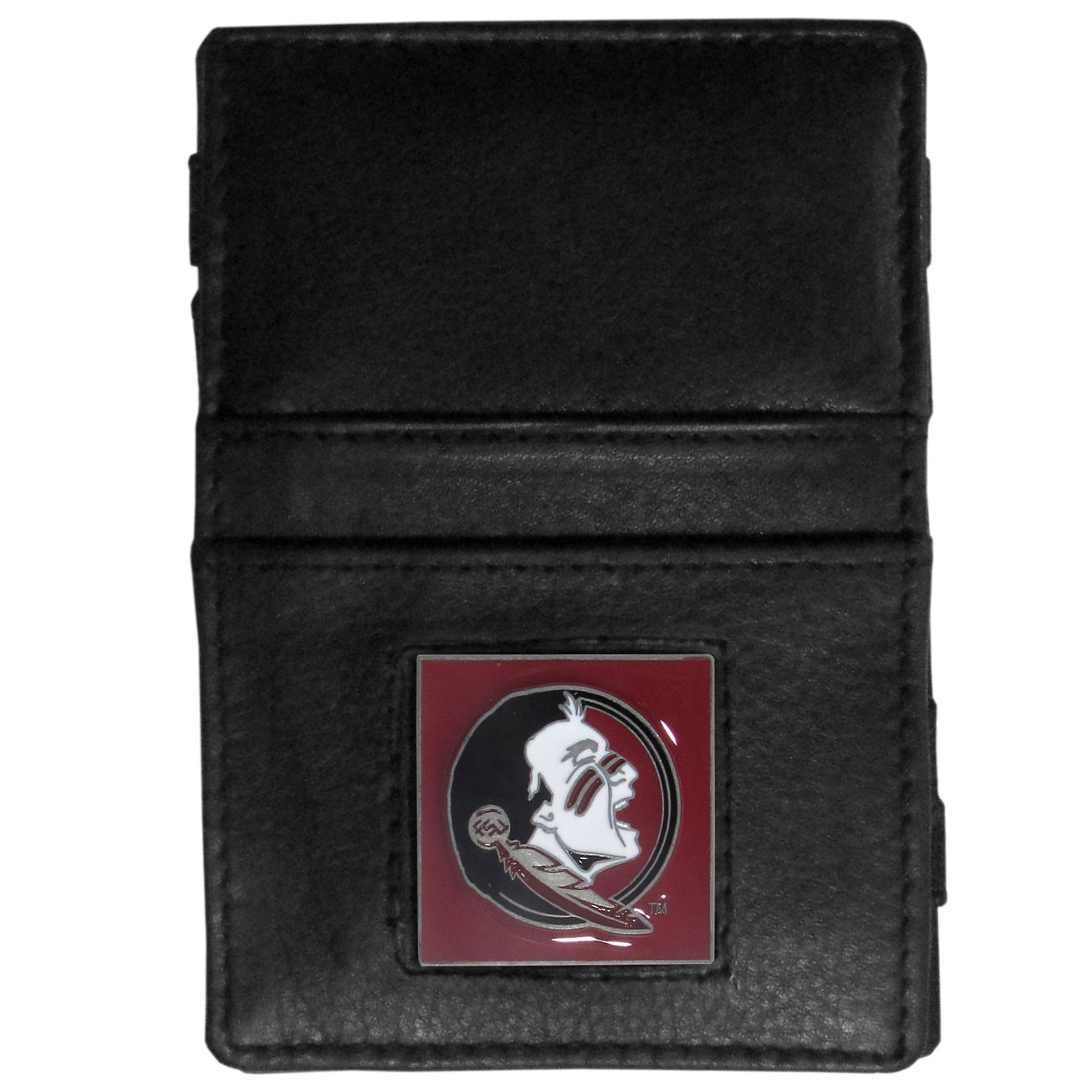 Florida State Seminoles Leather Jacob's Ladder Wallet - This innovative jacob's ladder wallet design traps cash with just a simple flip of the wallet! There are also outer pockets to store your ID and credit cards. The wallet is made of fine quality leather with an enameled Florida State Seminoles emblem. Thank you for shopping with CrazedOutSports.com