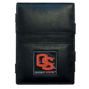 Oregon St. Leather Jacob's Ladder Wallet - This innovative jacob's ladder wallet design traps cash with just a simple flip of the wallet! There are also outer pockets to store your ID and credit cards. The wallet is made of fine quality leather with an enameled school emblem. Thank you for shopping with CrazedOutSports.com