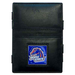 Boise State Broncos Leather Jacob's Ladder Wallet - This innovative jacob's ladder wallet design traps cash with just a simple flip of the wallet! There are also outer pockets to store your ID and credit cards. The wallet is made of fine quality leather with an enameled Boise State Broncos school emblem. Thank you for shopping with CrazedOutSports.com