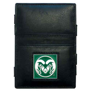 Colorado State Rams Leather Jacob's Ladder Wallet - This innovative jacob's ladder wallet design traps cash with just a simple flip of the wallet! There are also outer pockets to store your ID and credit cards. The wallet is made of fine quality leather with an enameled Colorado State Rams school emblem. Thank you for shopping with CrazedOutSports.com