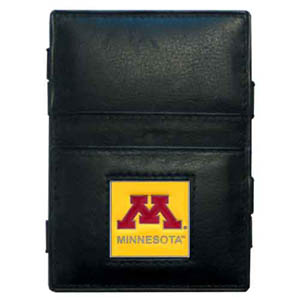 Minnesota Golden Gophers Leather Jacob's Ladder Wallet - This innovative Minnesota Golden Gophers Leather Jacob's Ladder Wallet design traps cash with just a simple flip of the wallet! There are also outer pockets to store your ID and credit cards. The Minnesota Golden Gophers Leather Jacob's Ladder Wallet is made of fine quality leather with an enameled school emblem. Thank you for shopping with CrazedOutSports.com