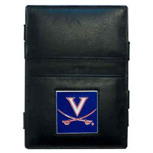 Virginia Leather Jacob's Ladder Wallet - This innovative jacob's ladder wallet design traps cash with just a simple flip of the wallet! There are also outer pockets to store your ID and credit cards. The wallet is made of fine quality leather with an enameled school emblem. Thank you for shopping with CrazedOutSports.com