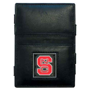 N. Carolina St. Leather Jacob's Ladder Wallet - This innovative jacob's ladder wallet design traps cash with just a simple flip of the wallet! There are also outer pockets to store your ID and credit cards. The wallet is made of fine quality leather with an enameled school emblem. Thank you for shopping with CrazedOutSports.com