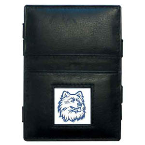 UCONN Leather Jacob's Ladder Wallet - This innovative jacob's ladder wallet design traps cash with just a simple flip of the wallet! There are also outer pockets to store your ID and credit cards. The wallet is made of fine quality leather with an enameled school emblem. Thank you for shopping with CrazedOutSports.com