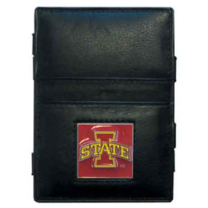 Iowa St. Cyclones Leather Jacob's Ladder Wallet - This Iowa St. Cyclones innovative jacob's ladder wallet design traps cash with just a simple flip of the wallet! There are also outer pockets to store your ID and credit cards. The wallet is made of fine quality leather with an enameled school emblem. Thank you for shopping with CrazedOutSports.com
