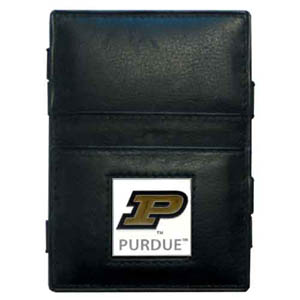Purdue Leather Jacob's Ladder Wallet - This innovative jacob's ladder wallet design traps cash with just a simple flip of the wallet! There are also outer pockets to store your ID and credit cards. The wallet is made of fine quality leather with an enameled school emblem. Thank you for shopping with CrazedOutSports.com
