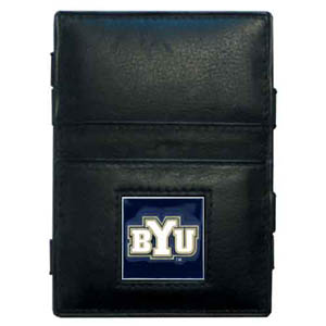 BYU Cougars Leather Jacob's Ladder Wallet - This innovative jacob's ladder wallet design traps cash with just a simple flip of the wallet! There are also outer pockets to store your ID and credit cards. The wallet is made of fine quality leather with an enameled BYU Cougars emblem. Thank you for shopping with CrazedOutSports.com