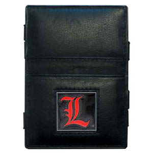 Louisville Leather Jacob's Ladder Wallet - This innovative jacob's ladder wallet design traps cash with just a simple flip of the wallet! There are also outer pockets to store your ID and credit cards. The wallet is made of fine quality leather with an enameled school emblem. Thank you for shopping with CrazedOutSports.com