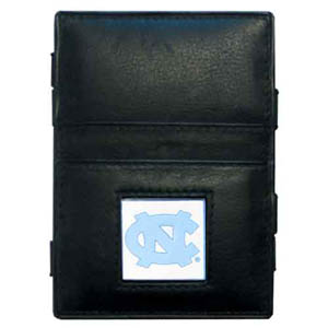 N. Carolina Leather Jacob's Ladder Wallet - This innovative jacob's ladder wallet design traps cash with just a simple flip of the wallet! There are also outer pockets to store your ID and credit cards. The wallet is made of fine quality leather with an enameled school emblem. Thank you for shopping with CrazedOutSports.com