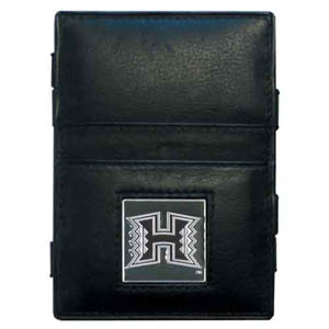 Hawaii Rainbow Warriors Leather Jacob's Ladder Wallet - This Hawaii Rainbow Warriors jacob's ladder wallet design traps cash with just a simple flip of the wallet! There are also outer pockets to store your ID and credit cards. The wallet is made of fine quality leather with an enameled school emblem. Thank you for shopping with CrazedOutSports.com