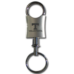 Tennessee Volunteers Valet Key Chain - Officially licensed collegiate key ring with a classic chrome finish and laser etched logo and detachable connector.  Thank you for shopping with CrazedOutSports.com