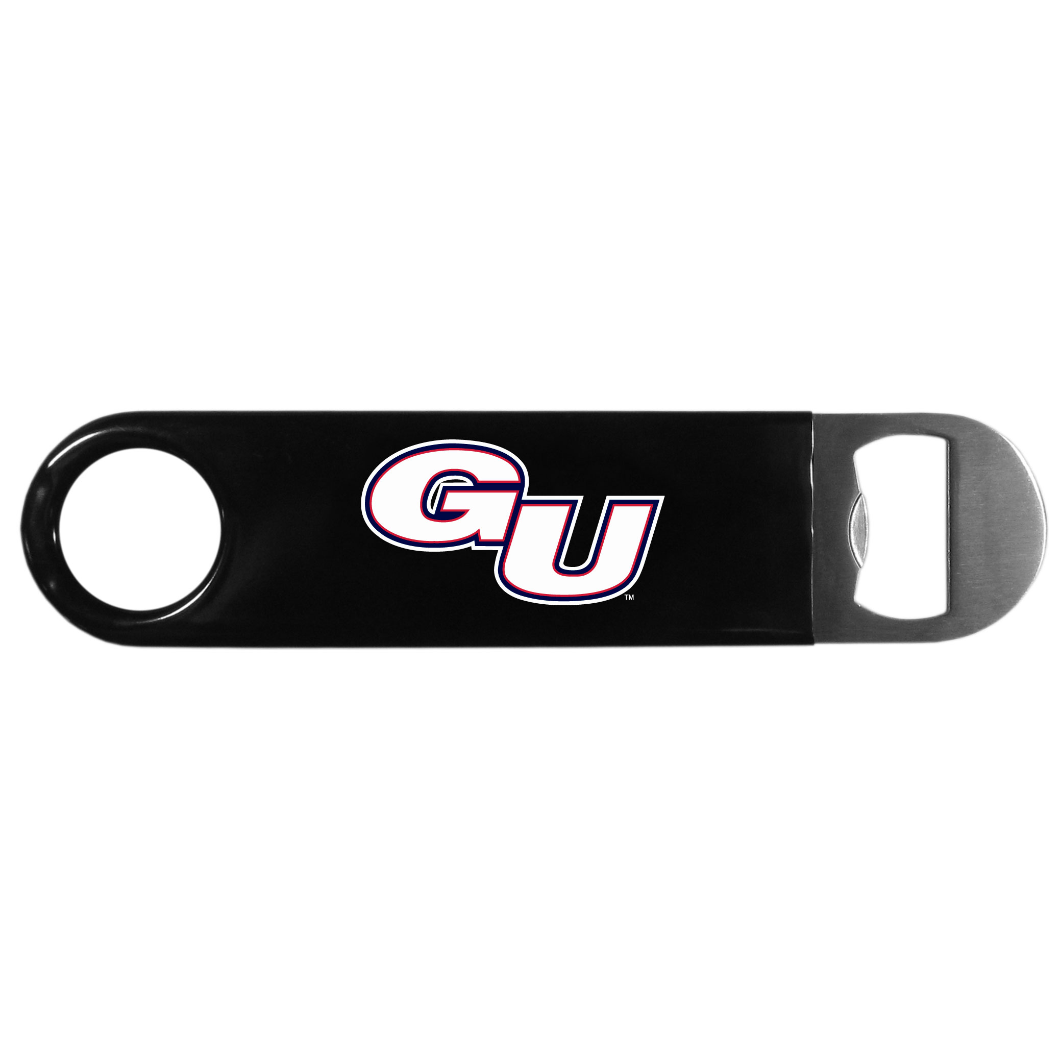Gonzaga Bulldogs Long Neck Bottle Opener - This heavy-duty steel opener is extra long, with a durable vinyl covering. The extra length provides more leverage for speed opening and the opener features a large printed Gonzaga Bulldogs logo.