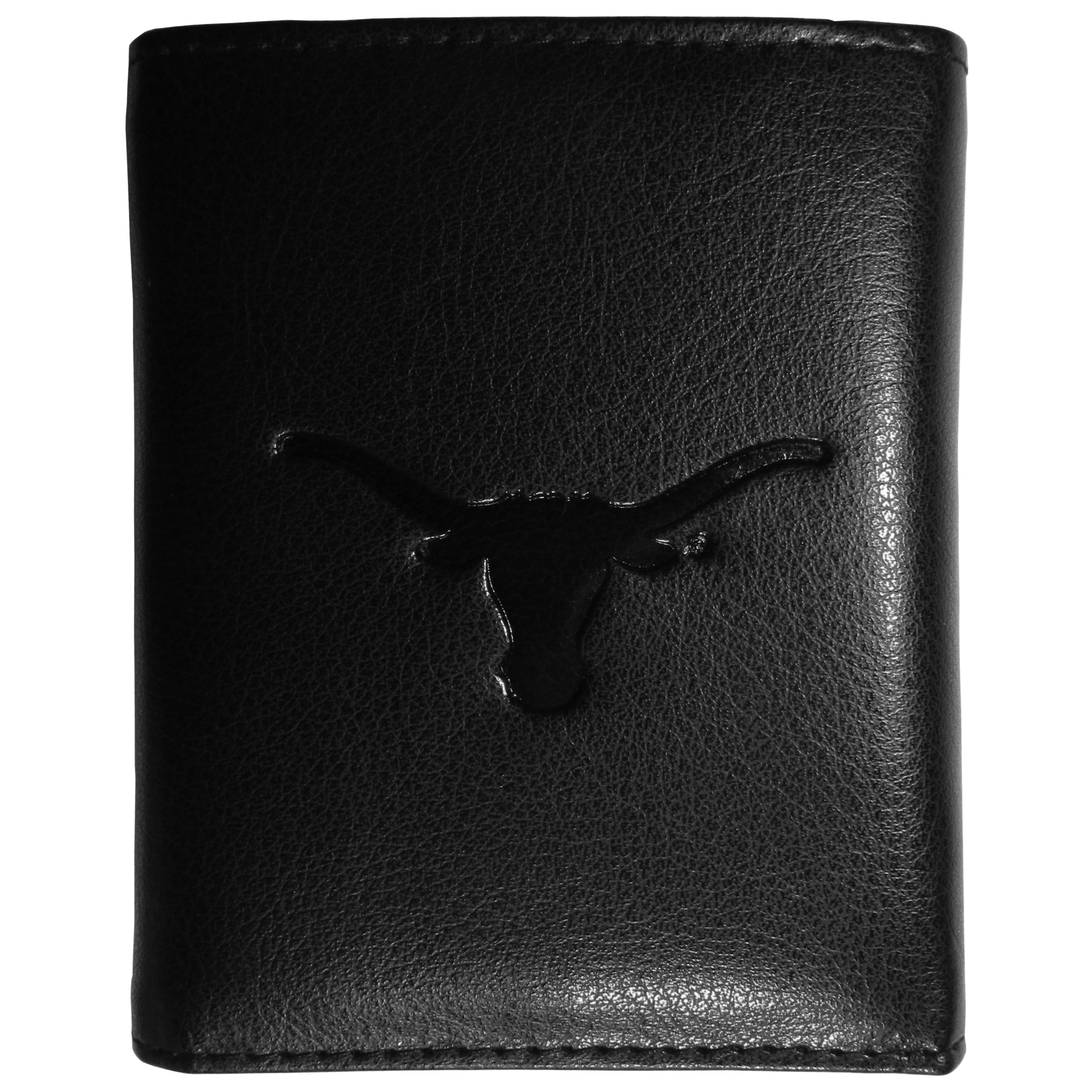 Texas Longhorns Embossed Leather Tri-fold Wallet - This stylish leather wallet is made of high quality leather with a supple feel and classic look. The front of the tri-fold style wallet has a deeply embossed Texas Longhorns logo. The billfold is packed with features that will allow to keep organized, lots of credit card slots, windowed ID slot, large pockets for bills and a removable sleeve with extra slots for even more storage. This is a must-have men's fashion accessory that would make any fan very proud to own.