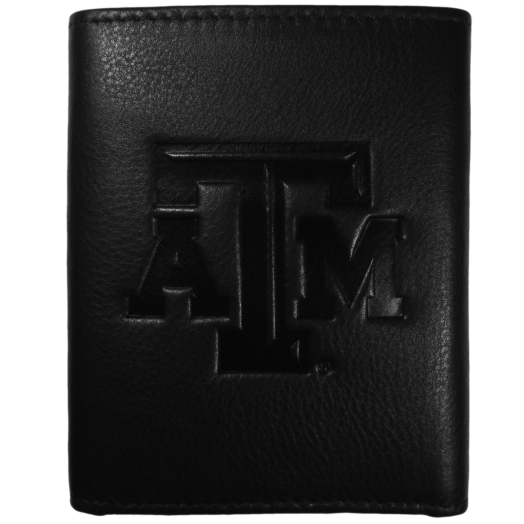 Texas A and M Aggies Embossed Leather Tri-fold Wallet - This stylish leather wallet is made of high quality leather with a supple feel and classic look. The front of the tri-fold style wallet has a deeply embossed Texas A & M Aggies logo. The billfold is packed with features that will allow to keep organized, lots of credit card slots, windowed ID slot, large pockets for bills and a removable sleeve with extra slots for even more storage. This is a must-have men's fashion accessory that would make any fan very proud to own.