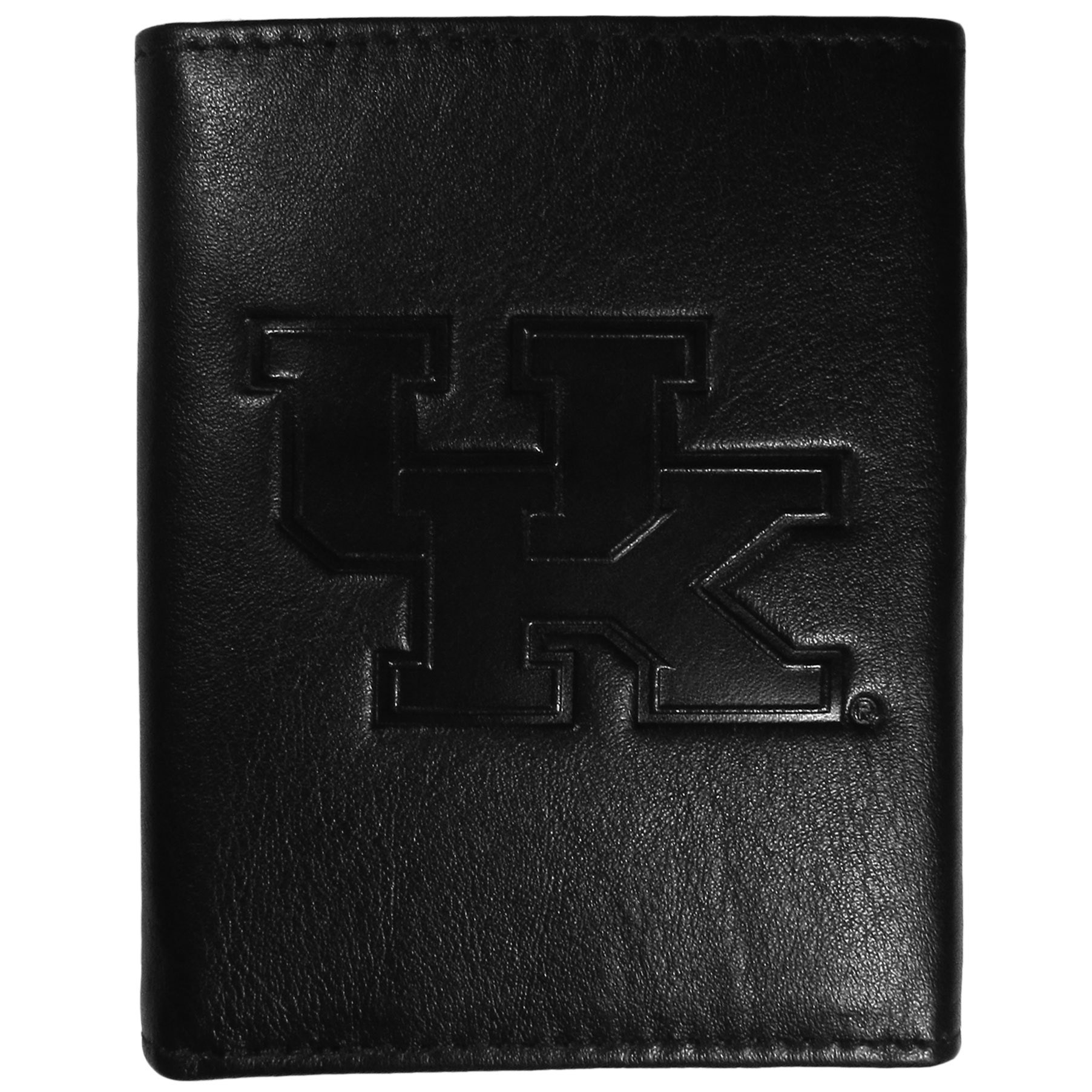 Kentucky Wildcats Embossed Leather Tri-fold Wallet - This stylish leather wallet is made of high quality leather with a supple feel and classic look. The front of the tri-fold style wallet has a deeply embossed Kentucky Wildcats logo. The billfold is packed with features that will allow to keep organized, lots of credit card slots, windowed ID slot, large pockets for bills and a removable sleeve with extra slots for even more storage. This is a must-have men's fashion accessory that would make any fan very proud to own.