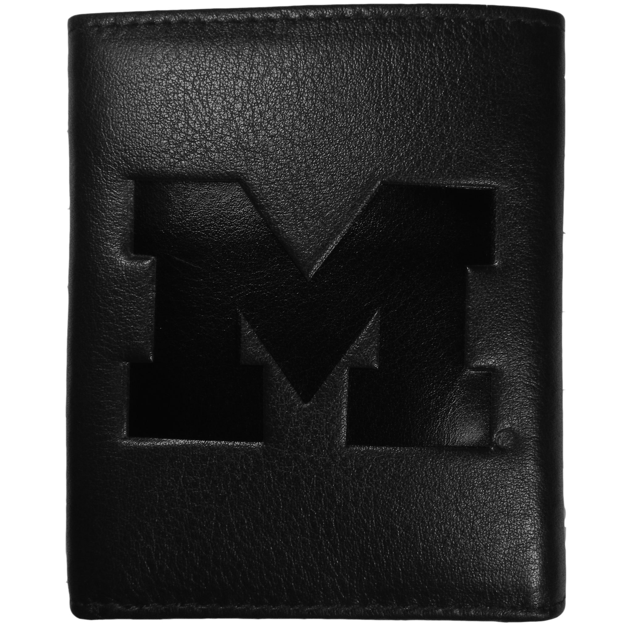 Michigan Wolverines Embossed Leather Tri-fold Wallet - This stylish leather wallet is made of high quality leather with a supple feel and classic look. The front of the tri-fold style wallet has a deeply embossed Michigan Wolverines logo. The billfold is packed with features that will allow to keep organized, lots of credit card slots, windowed ID slot, large pockets for bills and a removable sleeve with extra slots for even more storage. This is a must-have men's fashion accessory that would make any fan very proud to own.