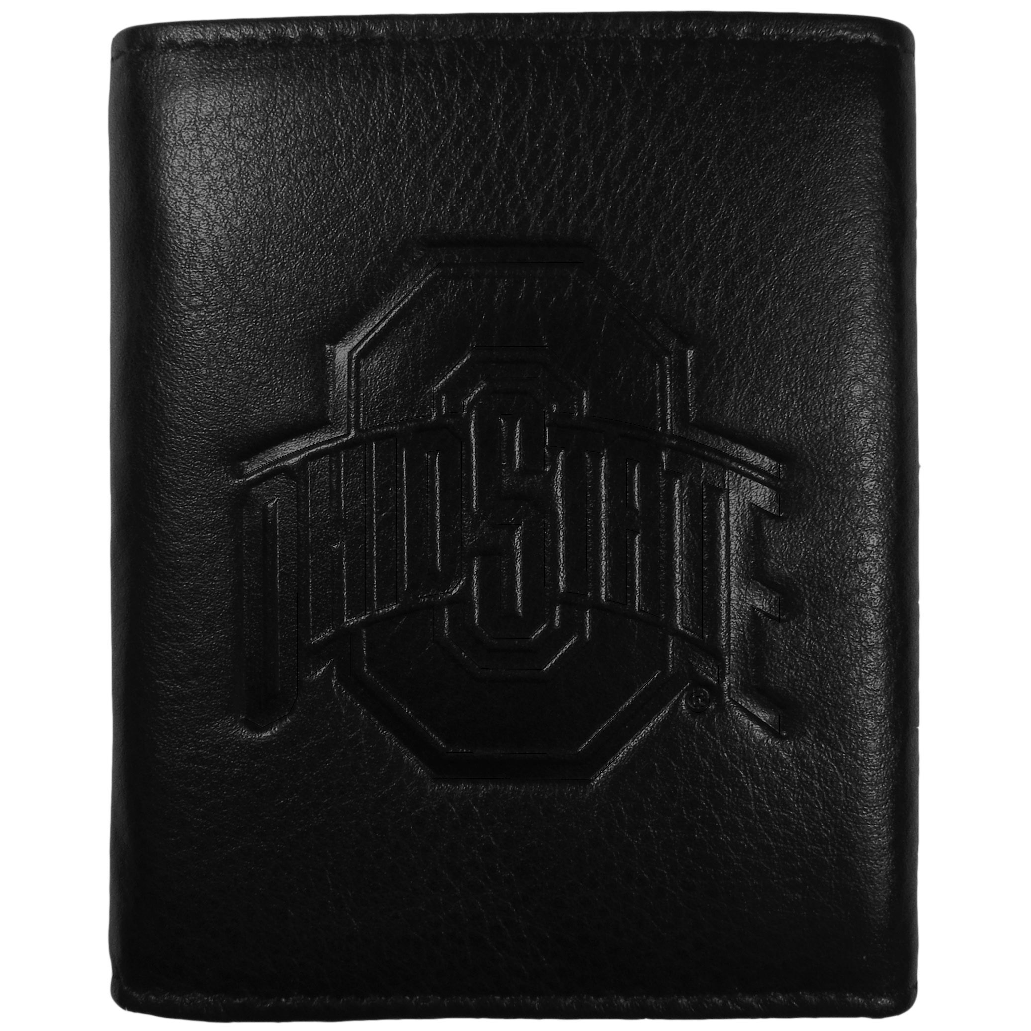 Ohio St. Buckeyes Embossed Leather Tri-fold Wallet - This stylish leather wallet is made of high quality leather with a supple feel and classic look. The front of the tri-fold style wallet has a deeply embossed Ohio St. Buckeyes logo. The billfold is packed with features that will allow to keep organized, lots of credit card slots, windowed ID slot, large pockets for bills and a removable sleeve with extra slots for even more storage. This is a must-have men's fashion accessory that would make any fan very proud to own.