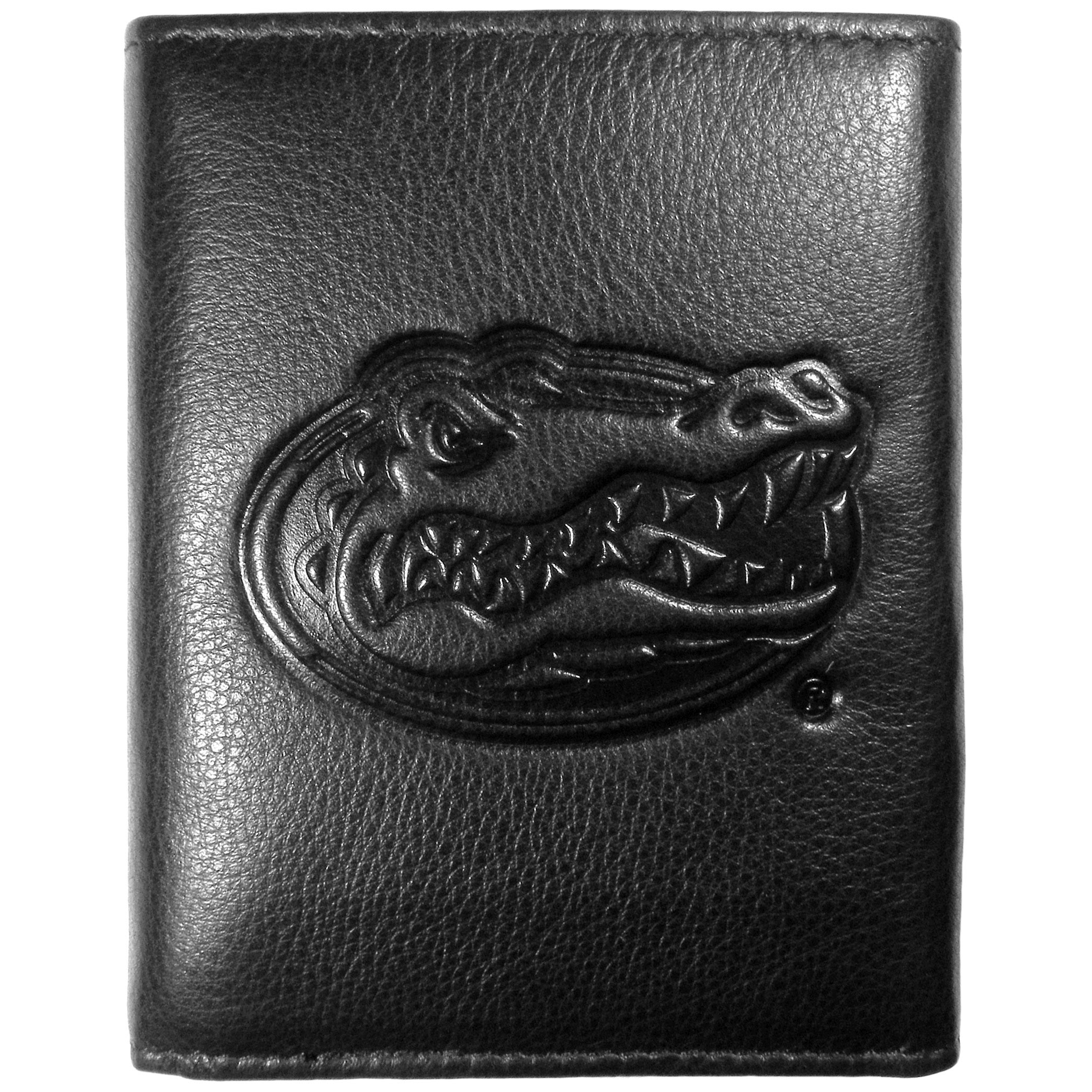 Florida Gators Embossed Leather Tri-fold Wallet - This stylish leather wallet is made of high quality leather with a supple feel and classic look. The front of the tri-fold style wallet has a deeply embossed Florida Gators logo. The billfold is packed with features that will allow to keep organized, lots of credit card slots, windowed ID slot, large pockets for bills and a removable sleeve with extra slots for even more storage. This is a must-have men's fashion accessory that would make any fan very proud to own.
