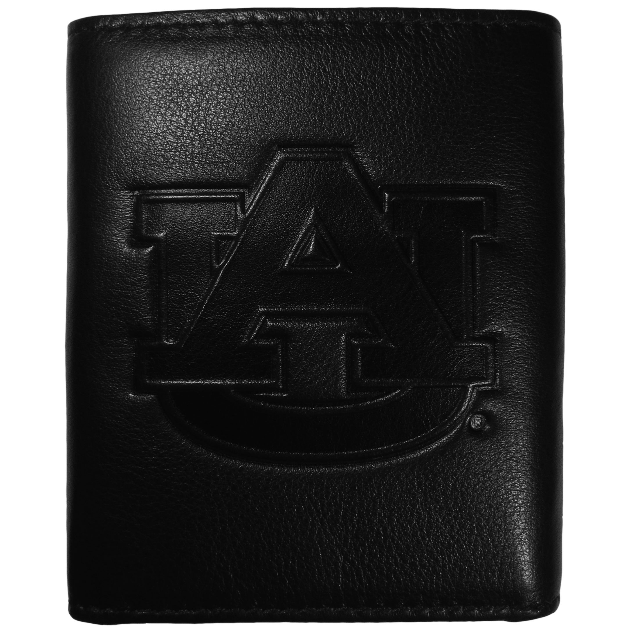 Auburn Tigers Embossed Leather Tri-fold Wallet - This stylish leather wallet is made of high quality leather with a supple feel and classic look. The front of the tri-fold style wallet has a deeply embossed Auburn Tigers logo. The billfold is packed with features that will allow to keep organized, lots of credit card slots, windowed ID slot, large pockets for bills and a removable sleeve with extra slots for even more storage. This is a must-have men's fashion accessory that would make any fan very proud to own.