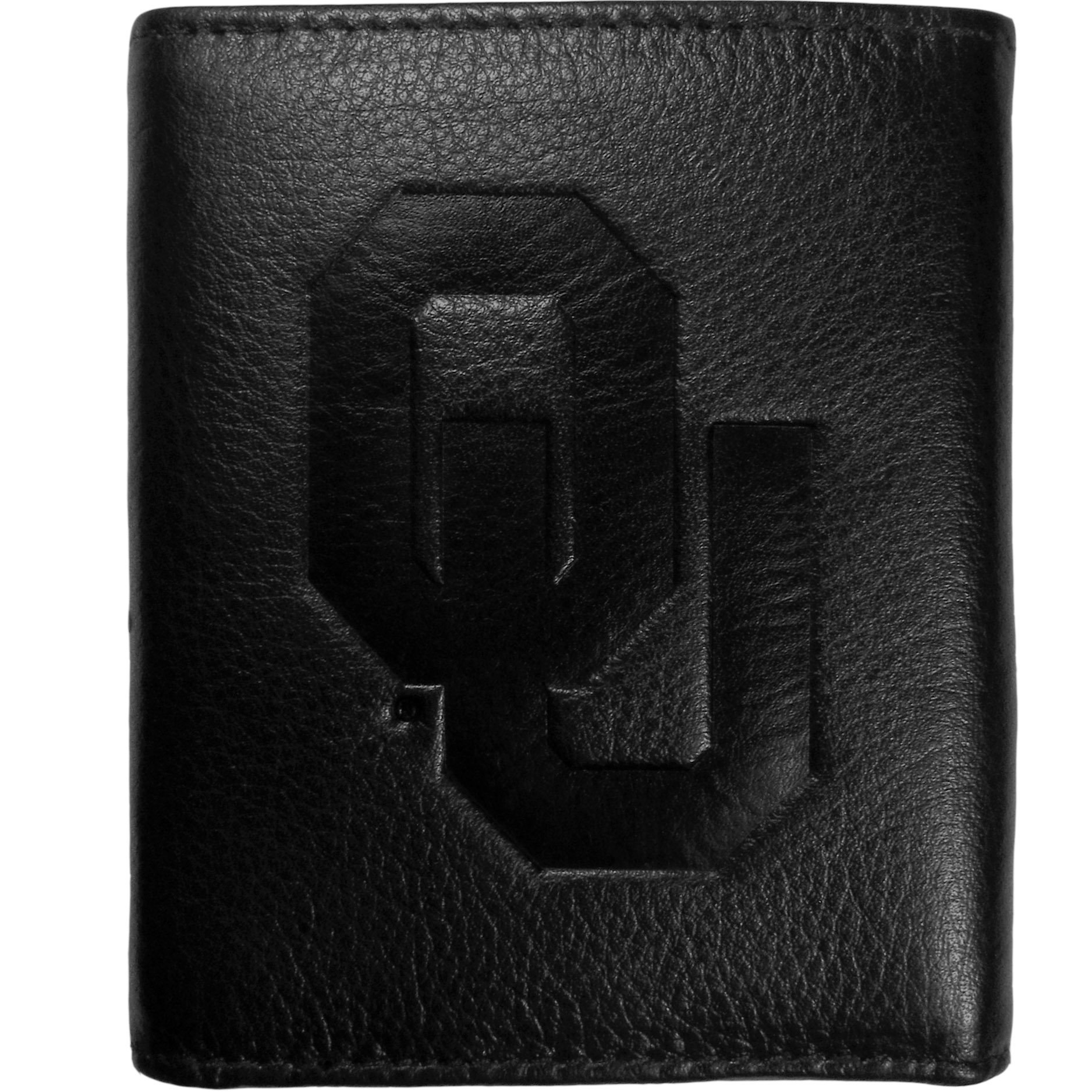 Oklahoma Sooners Embossed Leather Tri-fold Wallet - This stylish leather wallet is made of high quality leather with a supple feel and classic look. The front of the tri-fold style wallet has a deeply embossed Oklahoma Sooners logo. The billfold is packed with features that will allow to keep organized, lots of credit card slots, windowed ID slot, large pockets for bills and a removable sleeve with extra slots for even more storage. This is a must-have men's fashion accessory that would make any fan very proud to own.