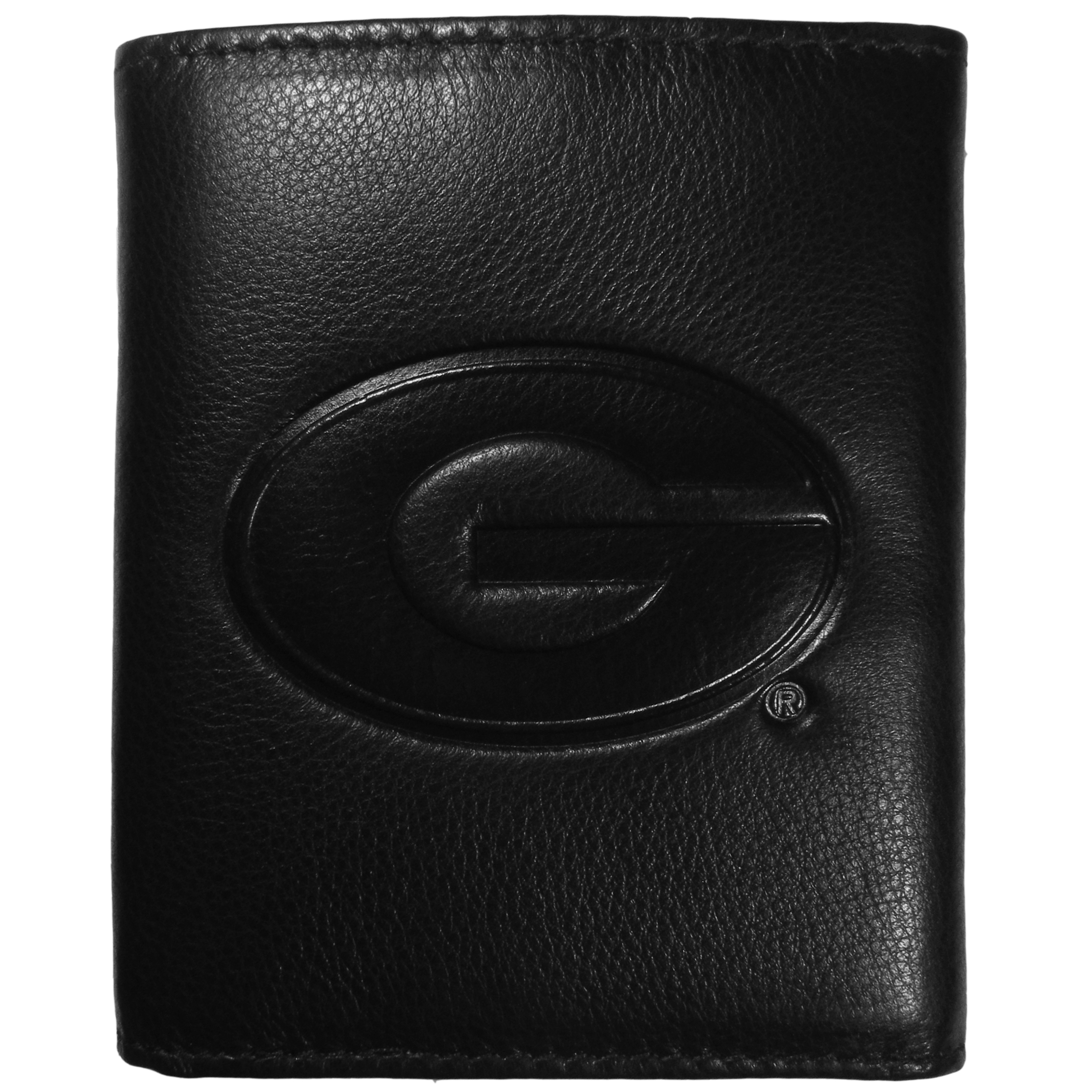 Georgia Bulldogs Embossed Leather Tri-fold Wallet - This stylish leather wallet is made of high quality leather with a supple feel and classic look. The front of the tri-fold style wallet has a deeply embossed Georgia Bulldogs logo. The billfold is packed with features that will allow to keep organized, lots of credit card slots, windowed ID slot, large pockets for bills and a removable sleeve with extra slots for even more storage. This is a must-have men's fashion accessory that would make any fan very proud to own.