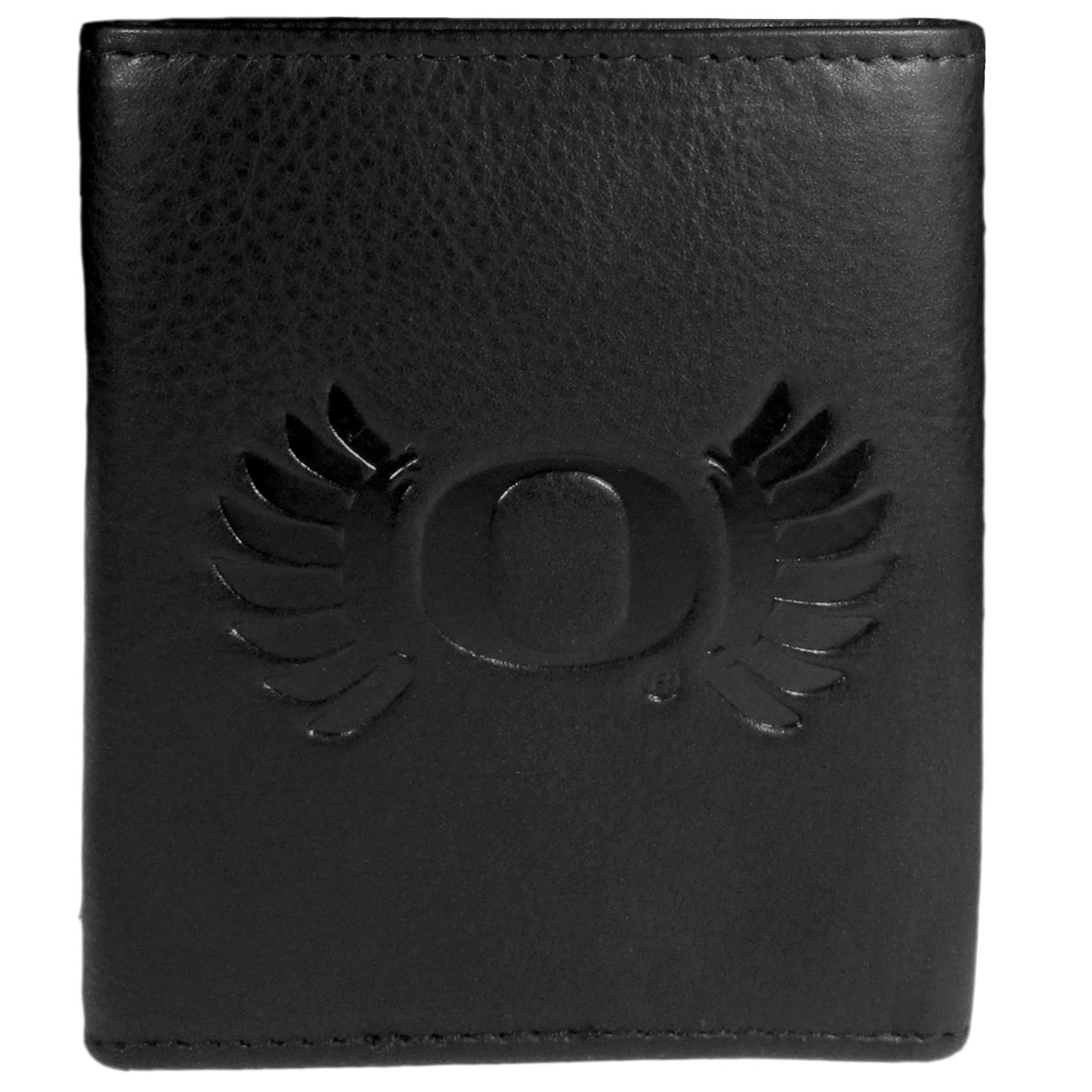 Oregon Ducks Embossed Leather Tri-fold Wallet - This stylish leather wallet is made of high quality leather with a supple feel and classic look. The front of the tri-fold style wallet has a deeply embossed Oregon Ducks logo. The billfold is packed with features that will allow to keep organized, lots of credit card slots, windowed ID slot, large pockets for bills and a removable sleeve with extra slots for even more storage. This is a must-have men's fashion accessory that would make any fan very proud to own.