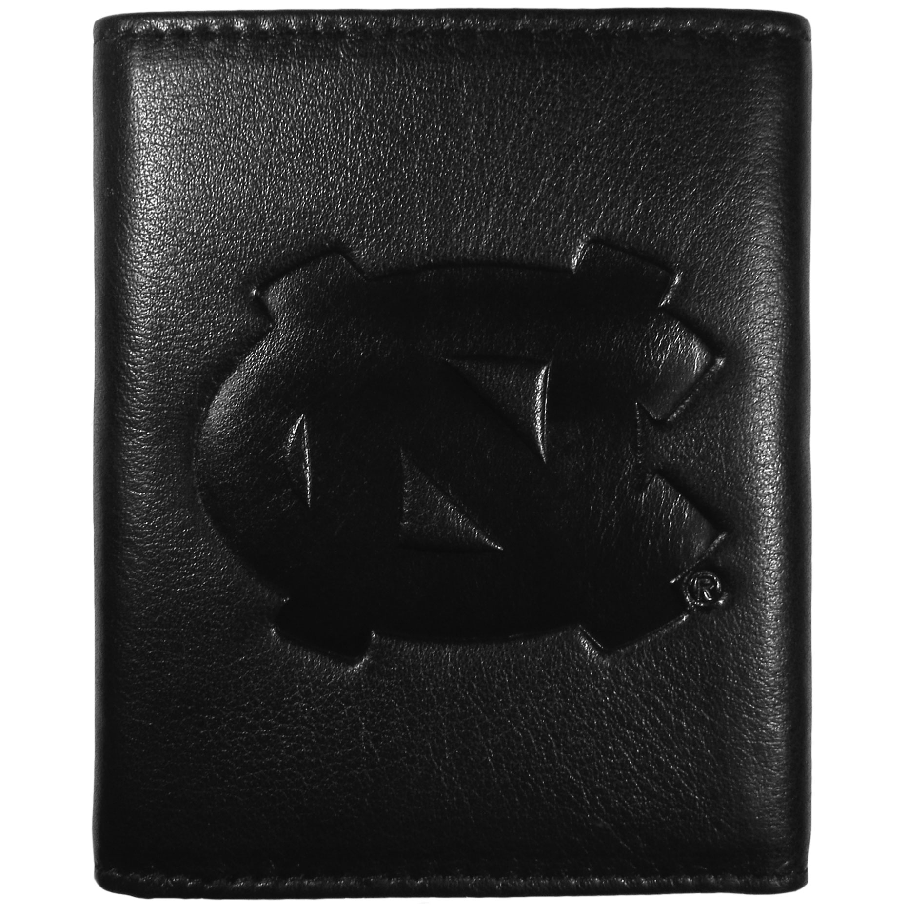 N. Carolina Tar Heels Embossed Leather Tri-fold Wallet - This stylish leather wallet is made of high quality leather with a supple feel and classic look. The front of the tri-fold style wallet has a deeply embossed N. Carolina Tar Heels logo. The billfold is packed with features that will allow to keep organized, lots of credit card slots, windowed ID slot, large pockets for bills and a removable sleeve with extra slots for even more storage. This is a must-have men's fashion accessory that would make any fan very proud to own.