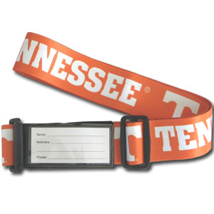 College Luggage Strap - Tennessee Volunteers - This attractive College luggage strap is constructed of a durable nylon weave with the school logo and name. The clasp is a made of dual velcro flaps and features an ID slot. Thank you for shopping with CrazedOutSports.com