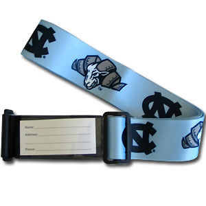 College Luggage Strap - North Carolina Tar Heels - This attractive College luggage strap is constructed of a durable nylon weave with the school logo and name. The clasp is a made of dual velcro flaps and features an ID slot. Thank you for shopping with CrazedOutSports.com