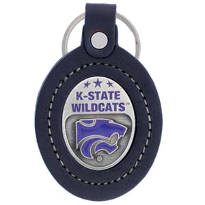 Large College Large Key Chain - Kansas State Wildcats - This Kansas St. Wildcats college key ring combines fine leather surrounding a sculpted & enameled college team emblem. The intricate design and craftsmanship makes this key ring a unique gift. Made in America.  Thank you for shopping with CrazedOutSports.com