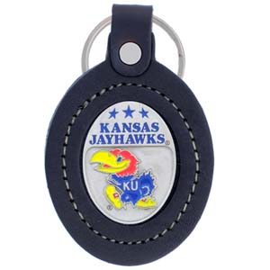 Large College Large Key Chain - Kansas Jayhawks - This Kansas Jayhawks college key ring combines fine leather surrounding a sculpted & enameled college team emblem. The intricate design and craftsmanship makes this key ring a unique gift. Made in America.  Thank you for shopping with CrazedOutSports.com