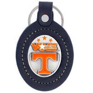 Large College Large Key Chain - Tennessee Volunteers - Our  college key ring combines fine leather surrounding a sculpted & enameled college team emblem. The intricate design and craftsmanship makes this key ring a unique gift. Made in America.  Thank you for shopping with CrazedOutSports.com