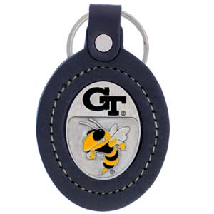 Large College Large Key Chain - Georgia Tech Yellow Jackets - Our  college key ring combines fine leather surrounding a sculpted & enameled college team emblem. The intricate design and craftsmanship makes this key ring a unique gift. Made in America.  Thank you for shopping with CrazedOutSports.com