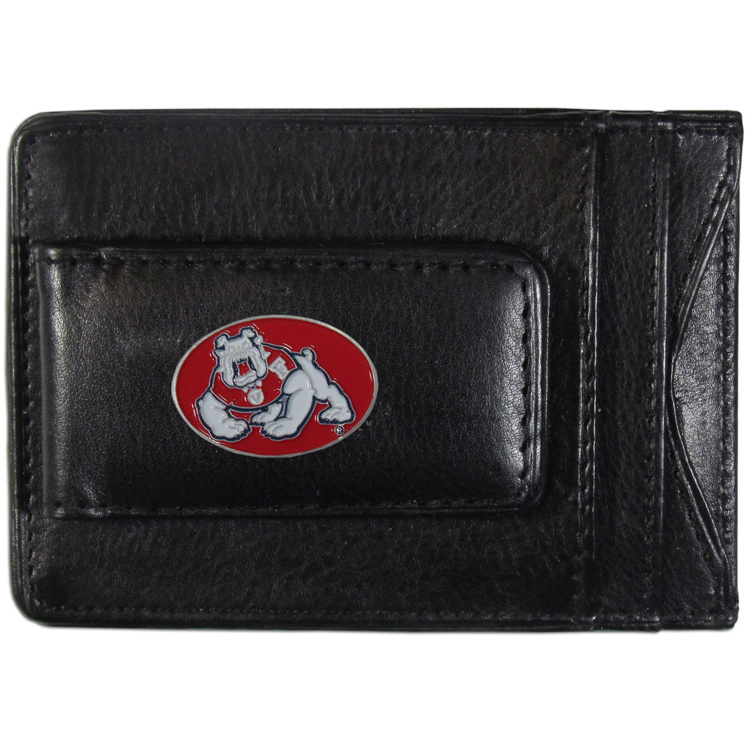 Fresno St. Bulldogs Leather Cash & Cardholder - Our Fresno St. Bulldogs genuine leather cash & cardholder is a great alternative to the traditional bulky wallet. This compact wallet has credit card slots, windowed ID slot and a magnetic money clip that will not damage your credit cards. The wallet features a metal team emblem.
