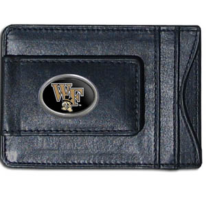 Money Clip/Cardholder - Wake Forest - Our genuine leather collegiate money clip/cardholder is the perfect way to organize both your cash and cards while showing off your school spirit! Thank you for shopping with CrazedOutSports.com