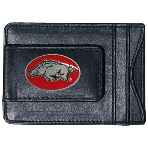 Money Clip/Cardholder - Arkansas Razorbacks - Our genuine leather Arkansas Razorbacks collegiate money clip/cardholder is the perfect way to organize both your cash and cards while showing off your school spirit! Thank you for shopping with CrazedOutSports.com