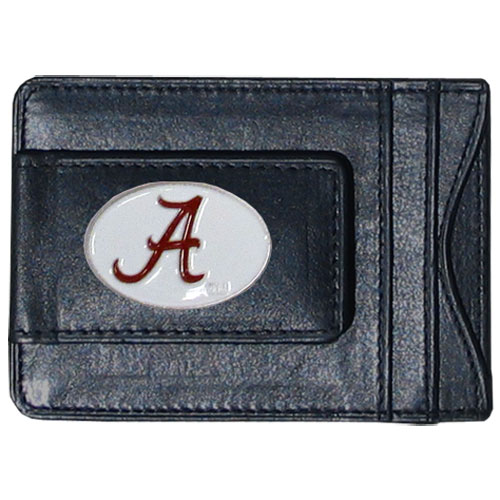 Money Clip/Cardholder - Alabama Crimson Tide - Our genuine leather collegiate money clip/cardholder is the perfect way to organize both your cash and cards while showing off your Alabama Crimson Tide school spirit! Thank you for shopping with CrazedOutSports.com